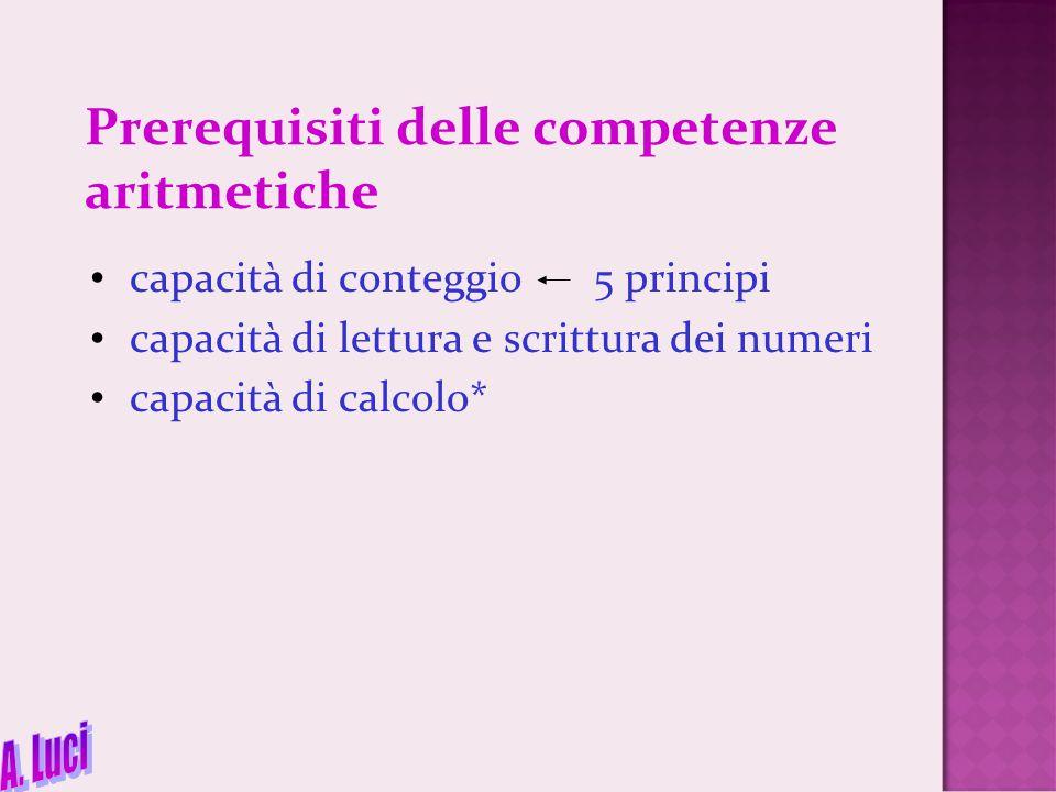 Prerequisiti delle competenze aritmetiche capacità di conteggio 5 principi capacità di lettura e scrittura dei numeri capacità di calcolo*