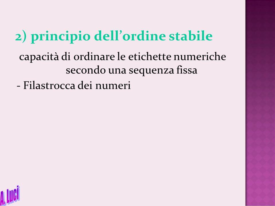2) principio dell'ordine stabile capacità di ordinare le etichette numeriche secondo una sequenza fissa - Filastrocca dei numeri