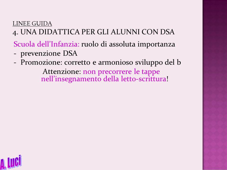 LINEE GUIDA 4. UNA DIDATTICA PER GLI ALUNNI CON DSA Scuola dell'Infanzia: ruolo di assoluta importanza -prevenzione DSA -Promozione: corretto e armoni
