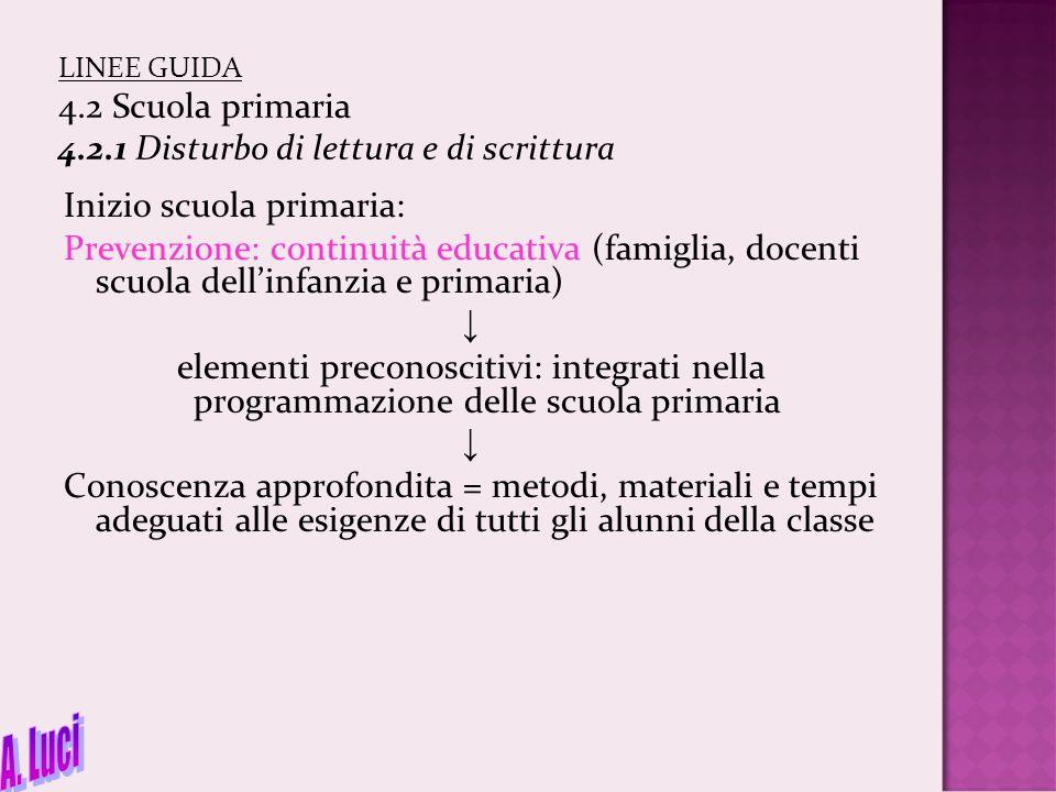 LINEE GUIDA 4.2 Scuola primaria 4.2.1 Disturbo di lettura e di scrittura Inizio scuola primaria: Prevenzione: continuità educativa (famiglia, docenti