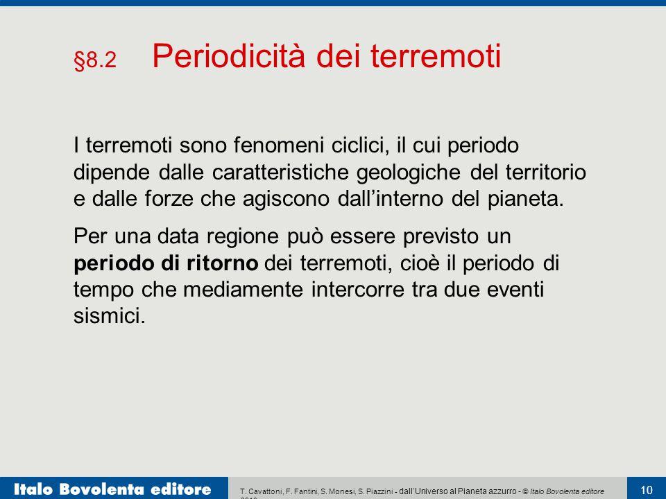 T. Cavattoni, F. Fantini, S. Monesi, S. Piazzini - dall'Universo al Pianeta azzurro - © Italo Bovolenta editore 2010 10 I terremoti sono fenomeni cicl
