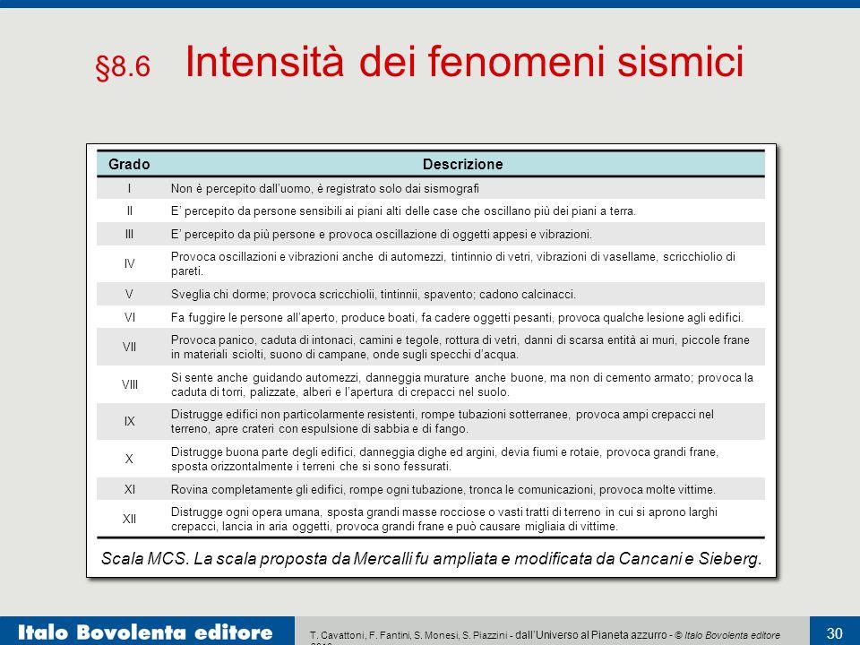 T. Cavattoni, F. Fantini, S. Monesi, S. Piazzini - dall'Universo al Pianeta azzurro - © Italo Bovolenta editore 2010 30 Scala MCS. La scala proposta d