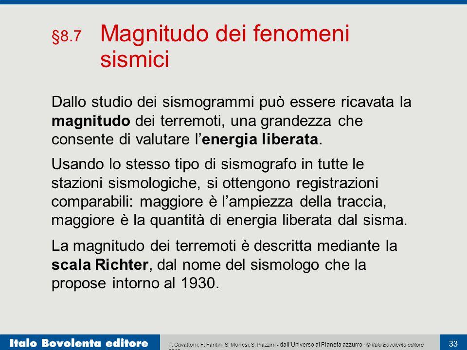T. Cavattoni, F. Fantini, S. Monesi, S. Piazzini - dall'Universo al Pianeta azzurro - © Italo Bovolenta editore 2010 33 Dallo studio dei sismogrammi p