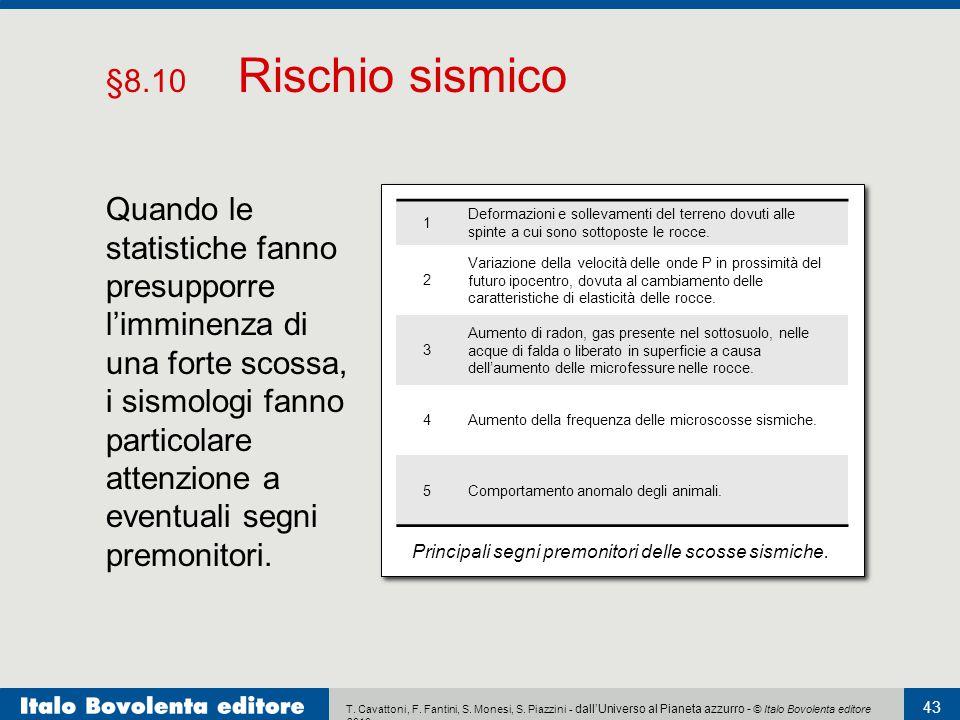 T. Cavattoni, F. Fantini, S. Monesi, S. Piazzini - dall'Universo al Pianeta azzurro - © Italo Bovolenta editore 2010 43 §8.10 Rischio sismico Quando l