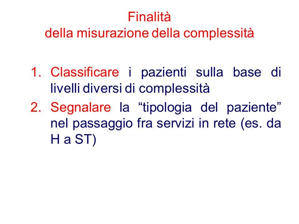 """Finalità della misurazione della complessità 1.Classificare i pazienti sulla base di livelli diversi di complessità 2.Segnalare la """"tipologia del pazi"""