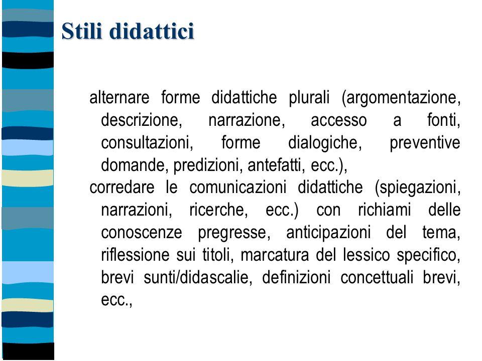 Stili didattici alternare forme didattiche plurali (argomentazione, descrizione, narrazione, accesso a fonti, consultazioni, forme dialogiche, prevent