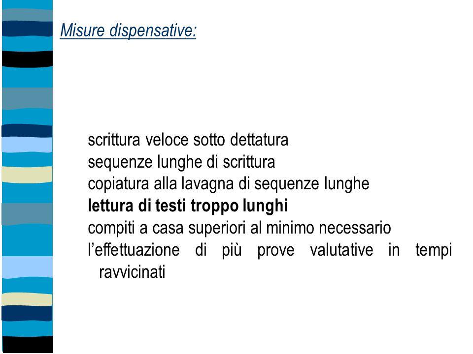 Misure dispensative: scrittura veloce sotto dettatura sequenze lunghe di scrittura copiatura alla lavagna di sequenze lunghe lettura di testi troppo l
