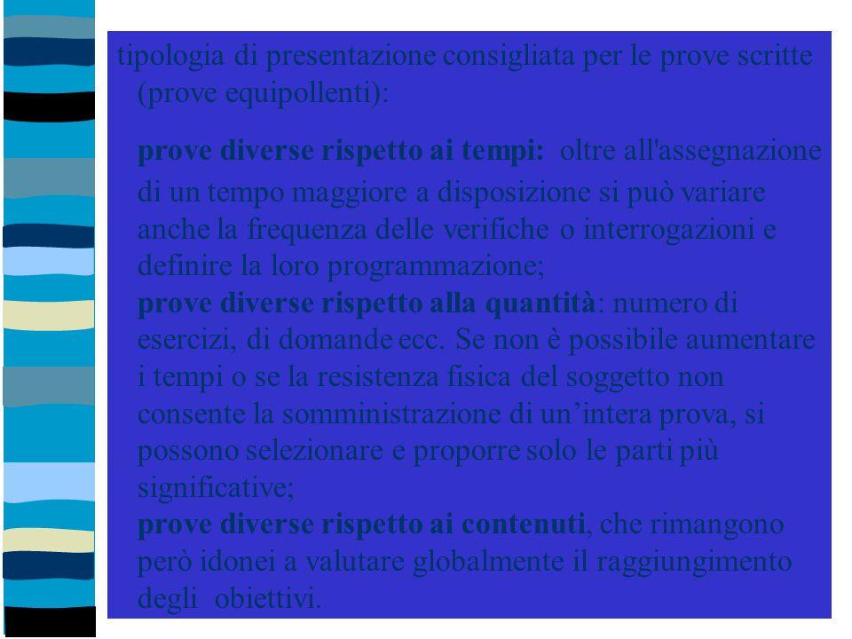 tipologia di presentazione consigliata per le prove scritte (prove equipollenti): prove diverse rispetto ai tempi: oltre all'assegnazione di un tempo