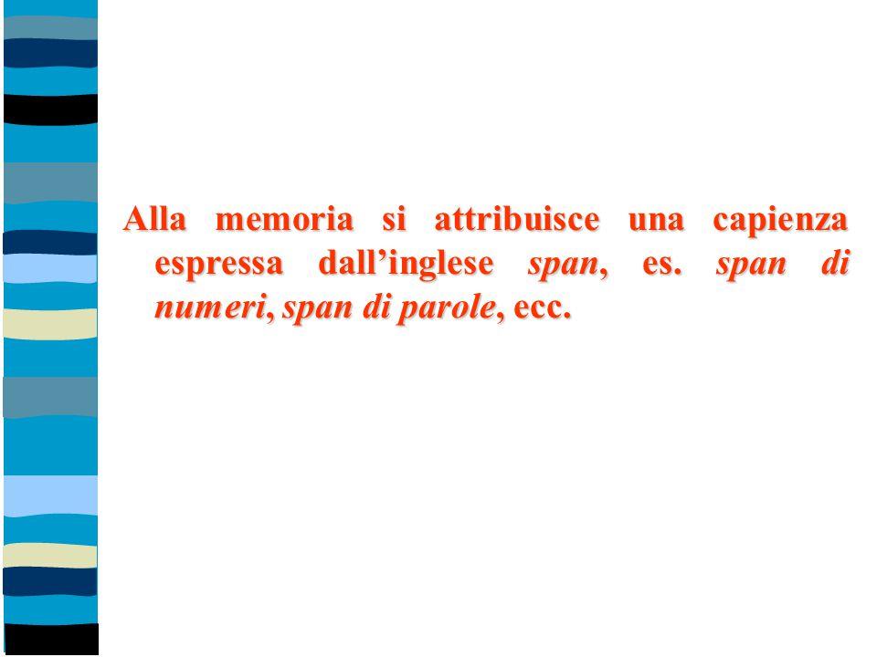 Alla memoria si attribuisce una capienza espressa dall'inglese span, es. span di numeri, span di parole, ecc.