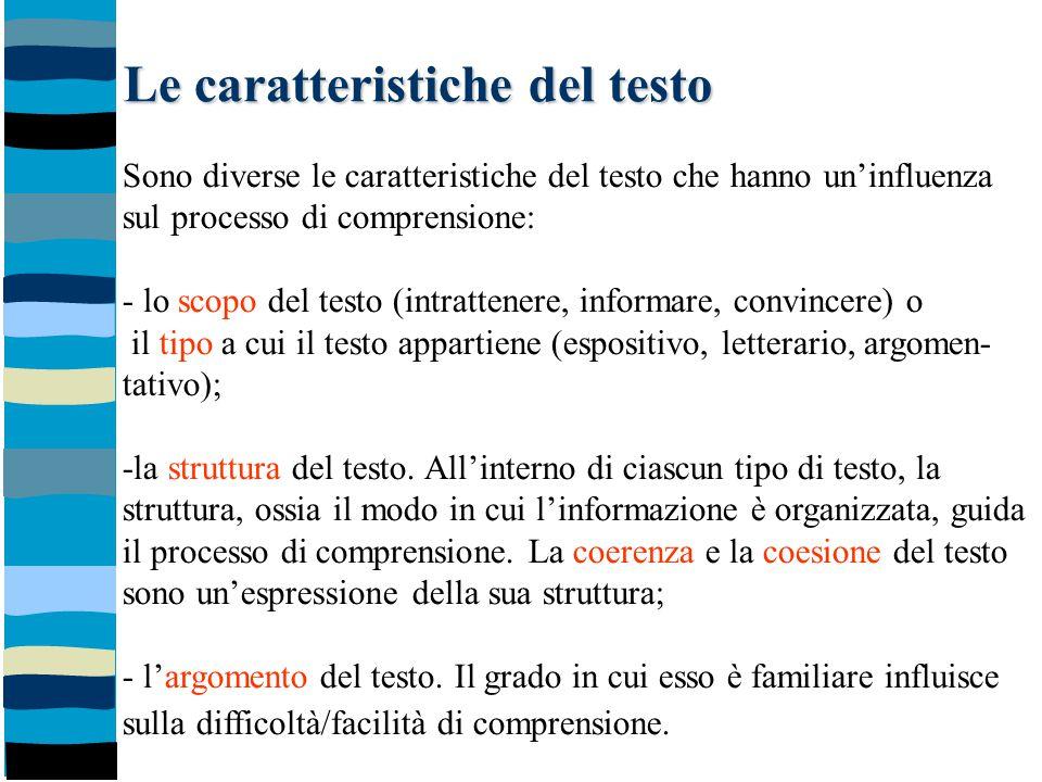Le caratteristiche del testo Sono diverse le caratteristiche del testo che hanno un'influenza sul processo di comprensione: - lo scopo del testo (intr