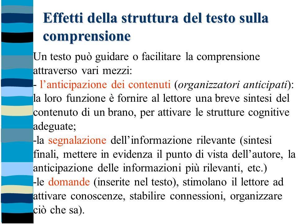 Effetti della struttura del testo sulla comprensione Un testo può guidare o facilitare la comprensione attraverso vari mezzi: - l'anticipazione dei co