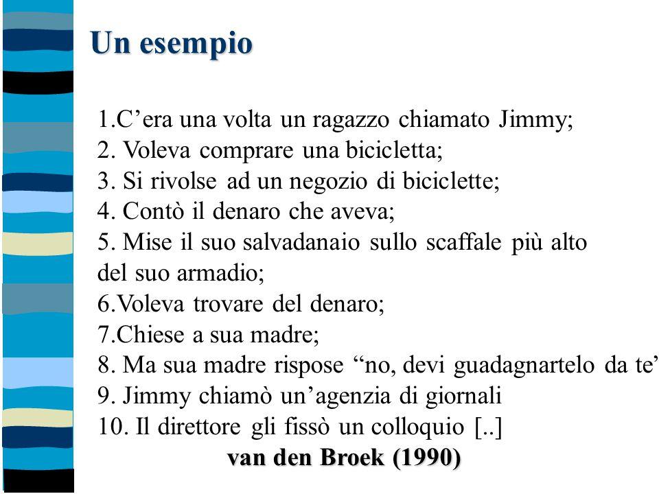 Un esempio 1.C'era una volta un ragazzo chiamato Jimmy; 2. Voleva comprare una bicicletta; 3. Si rivolse ad un negozio di biciclette; 4. Contò il dena