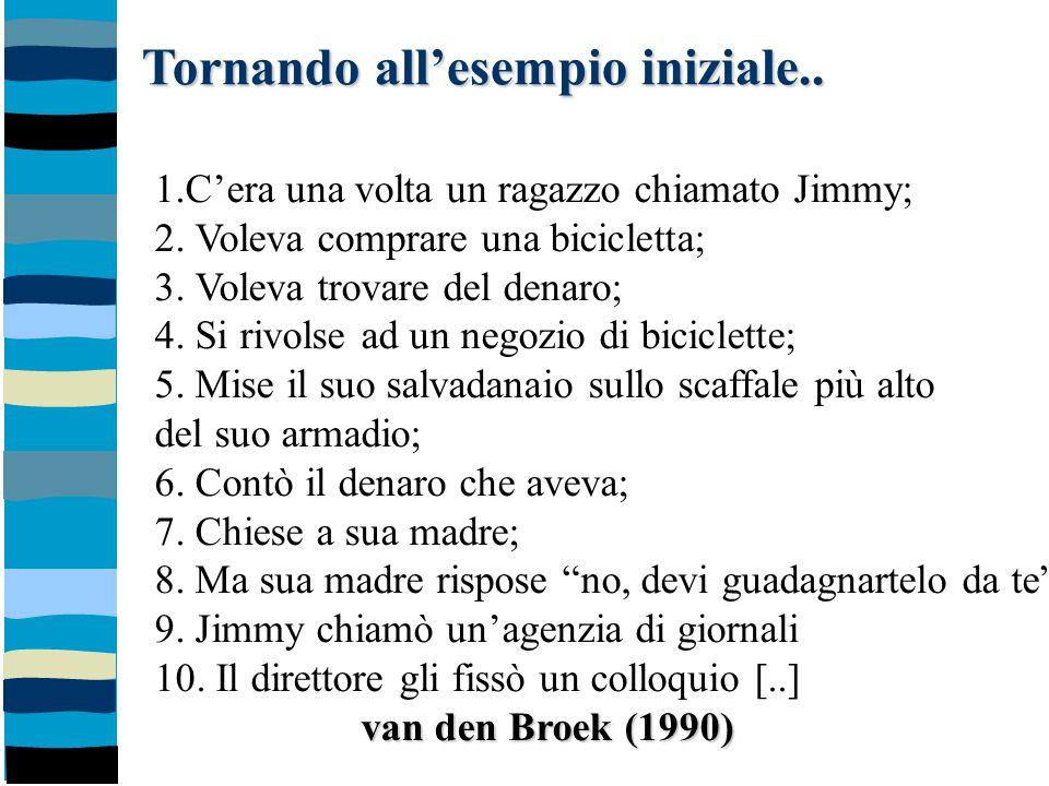 Tornando all'esempio iniziale.. 1.C'era una volta un ragazzo chiamato Jimmy; 2. Voleva comprare una bicicletta; 3. Voleva trovare del denaro; 4. Si ri