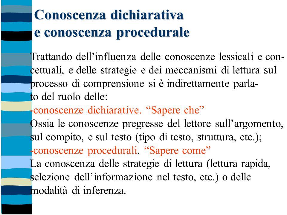 Conoscenza dichiarativa e conoscenza procedurale Trattando dell'influenza delle conoscenze lessicali e con- cettuali, e delle strategie e dei meccanis