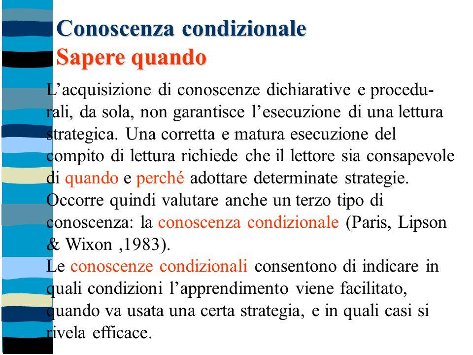 Conoscenza condizionale Sapere quando L'acquisizione di conoscenze dichiarative e procedu- rali, da sola, non garantisce l'esecuzione di una lettura s