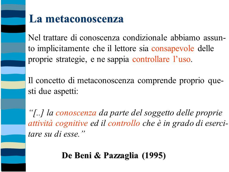 La metaconoscenza Nel trattare di conoscenza condizionale abbiamo assun- to implicitamente che il lettore sia consapevole delle proprie strategie, e n
