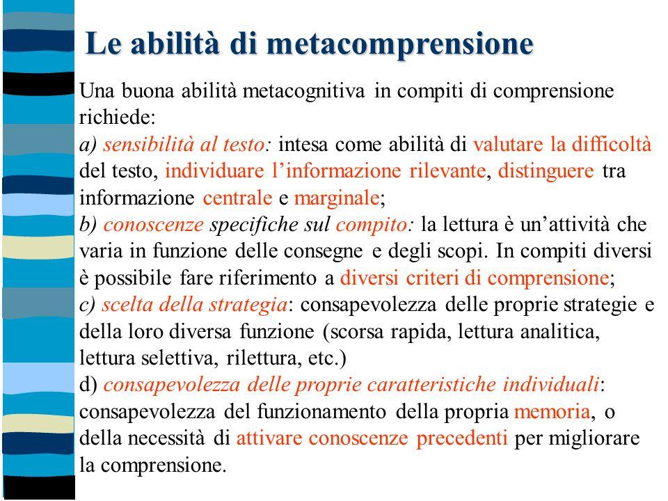 Le abilità di metacomprensione Una buona abilità metacognitiva in compiti di comprensione richiede: a) sensibilità al testo: intesa come abilità di va