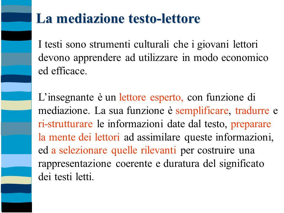 La mediazione testo-lettore I testi sono strumenti culturali che i giovani lettori devono apprendere ad utilizzare in modo economico ed efficace. L'in
