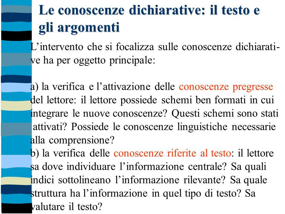Le conoscenze dichiarative: il testo e gli argomenti L'intervento che si focalizza sulle conoscenze dichiarati- ve ha per oggetto principale: a) la ve