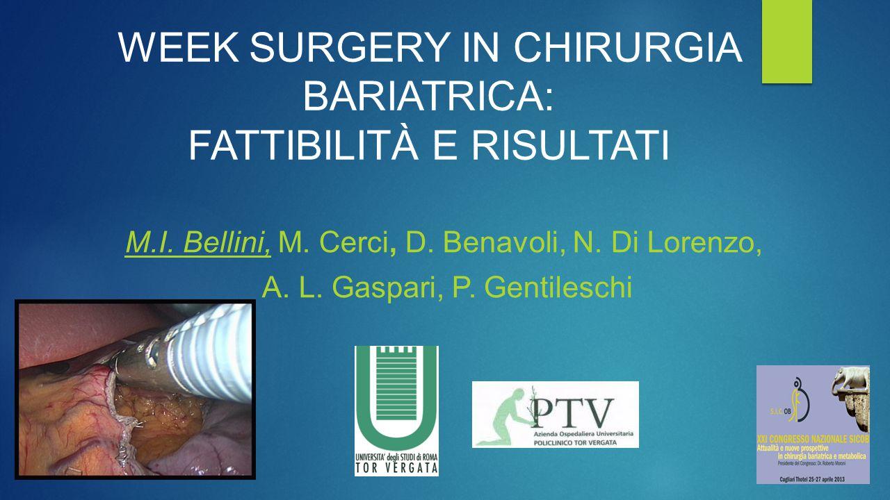 WEEK SURGERY IN CHIRURGIA BARIATRICA: FATTIBILITÀ E RISULTATI M.I. Bellini, M. Cerci, D. Benavoli, N. Di Lorenzo, A. L. Gaspari, P. Gentileschi
