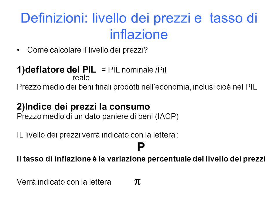 Definizioni: livello dei prezzi e tasso di inflazione Come calcolare il livello dei prezzi.