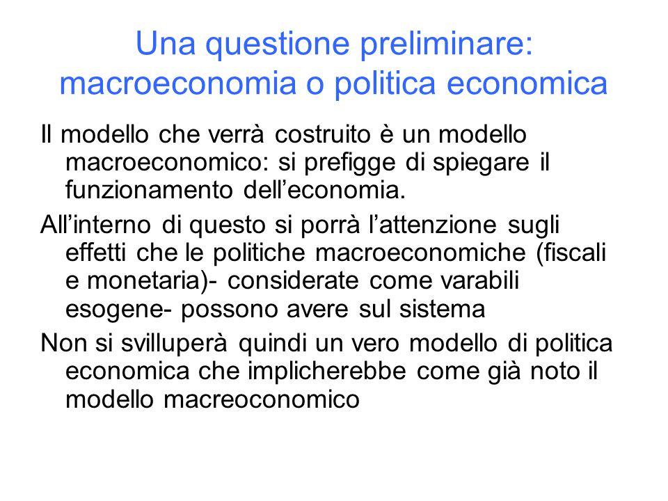 Una questione preliminare: macroeconomia o politica economica Il modello che verrà costruito è un modello macroeconomico: si prefigge di spiegare il funzionamento dell'economia.