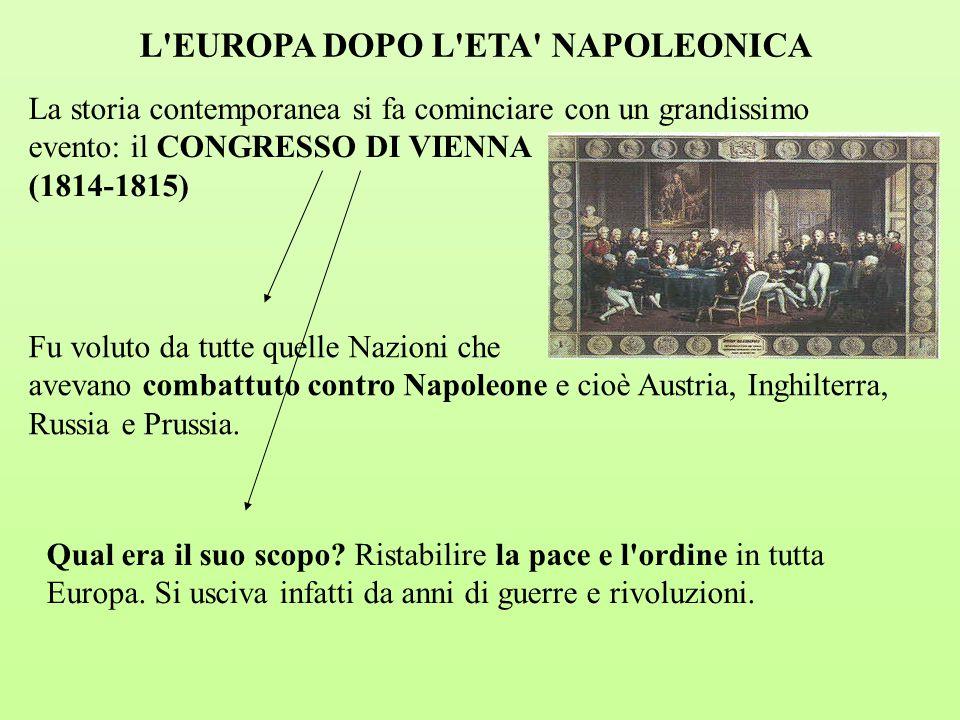 La storia contemporanea si fa cominciare con un grandissimo evento: il CONGRESSO DI VIENNA (1814-1815) L'EUROPA DOPO L'ETA' NAPOLEONICA Fu voluto da t