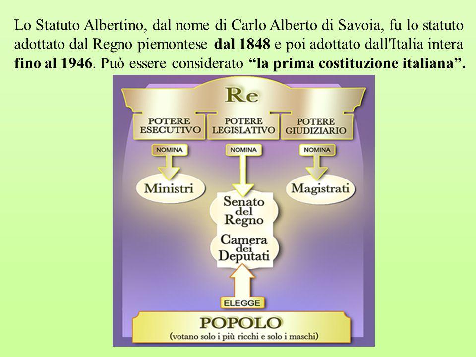 Lo Statuto Albertino, dal nome di Carlo Alberto di Savoia, fu lo statuto adottato dal Regno piemontese dal 1848 e poi adottato dall'Italia intera fino