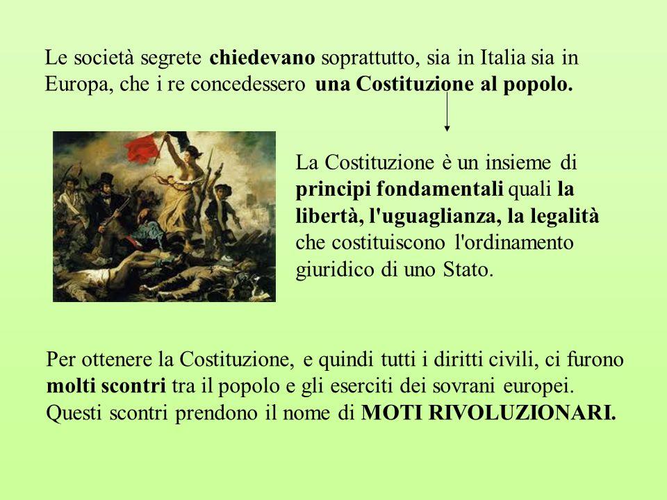 Le società segrete chiedevano soprattutto, sia in Italia sia in Europa, che i re concedessero una Costituzione al popolo. La Costituzione è un insieme