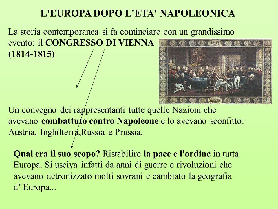 Il Congresso di Vienna stabilì la divisione tra i diversi Stati europei del grande impero che Napoleone aveva costituito prima della sua sconfitta definitiva a Waterloo e impose la Restaurazione
