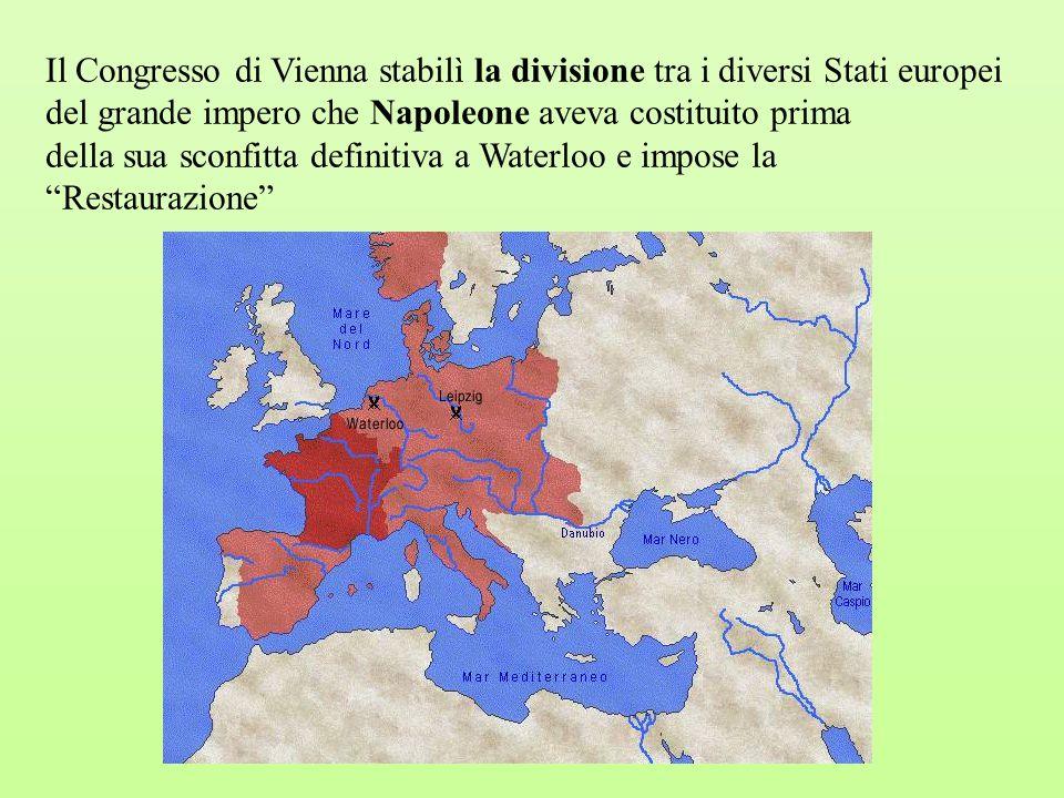Il Congresso di Vienna stabilì la divisione tra i diversi Stati europei del grande impero che Napoleone aveva costituito prima della sua sconfitta def