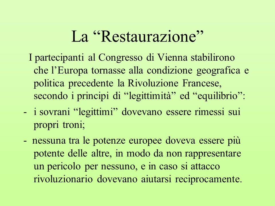 """La """"Restaurazione"""" I partecipanti al Congresso di Vienna stabilirono che l'Europa tornasse alla condizione geografica e politica precedente la Rivoluz"""