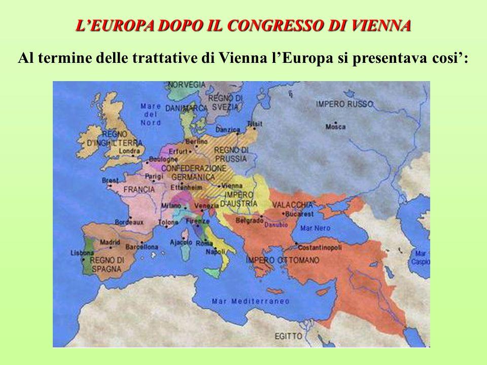 L'EUROPA DOPO IL CONGRESSO DI VIENNA Al termine delle trattative di Vienna l'Europa si presentava cosi':