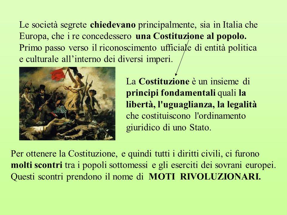 Le società segrete chiedevano principalmente, sia in Italia che Europa, che i re concedessero una Costituzione al popolo. Primo passo verso il riconos
