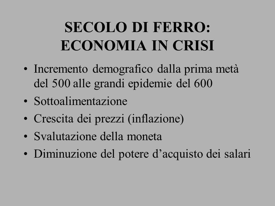 SECOLO DI FERRO: ECONOMIA IN CRISI Incremento demografico dalla prima metà del 500 alle grandi epidemie del 600 Sottoalimentazione Crescita dei prezzi