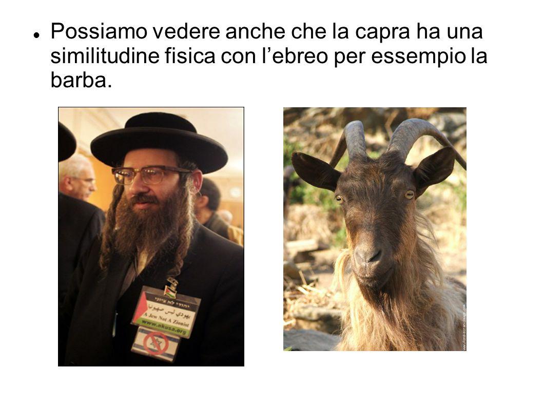 Possiamo vedere anche che la capra ha una similitudine fisica con l'ebreo per essempio la barba.