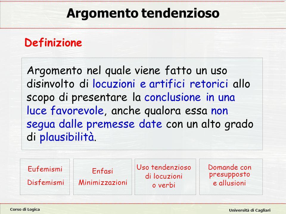 Corso di Logica Università di Cagliari Argomento tendenzioso Argomento nel quale viene fatto un uso disinvolto di locuzioni e artifici retorici allo s