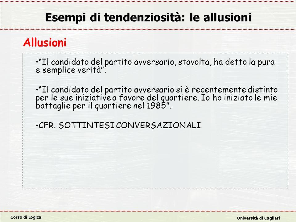 """Corso di Logica Università di Cagliari Esempi di tendenziosità: le allusioni """"Il candidato del partito avversario, stavolta, ha detto la pura e sempli"""