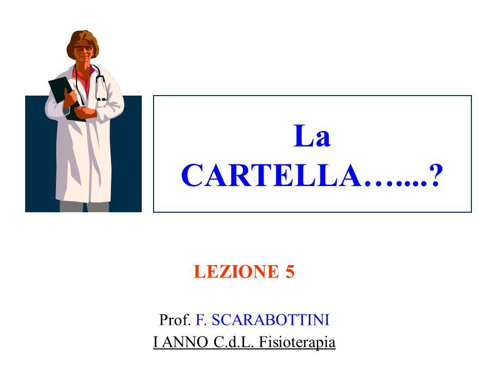 La CARTELLA…....? LEZIONE 5 Prof. F. SCARABOTTINI I ANNO C.d.L. Fisioterapia