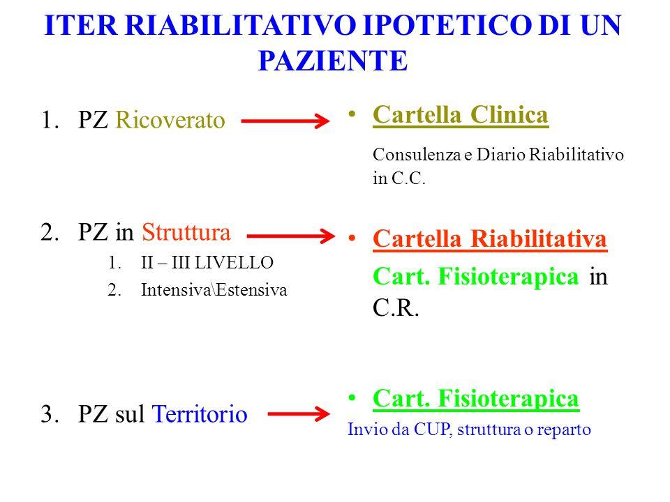 ITER RIABILITATIVO IPOTETICO DI UN PAZIENTE 1.PZ Ricoverato 2.PZ in Struttura 1.II – III LIVELLO 2.Intensiva\Estensiva 3.PZ sul Territorio Cartella Clinica Consulenza e Diario Riabilitativo in C.C.