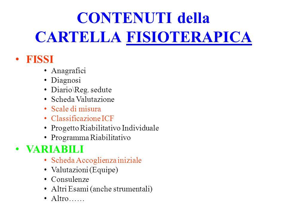 CONTENUTI della CARTELLA FISIOTERAPICA FISSI Anagrafici Diagnosi Diario\Reg.