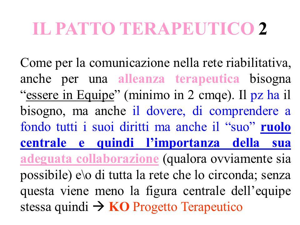 IL PATTO TERAPEUTICO 2 Come per la comunicazione nella rete riabilitativa, anche per una alleanza terapeutica bisogna essere in Equipe (minimo in 2 cmqe).