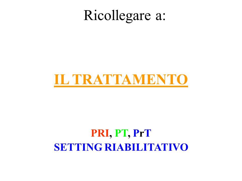IL TRATTAMENTO PRI, PT, PrT SETTING RIABILITATIVO Ricollegare a: