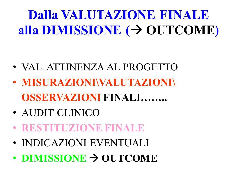Dalla VALUTAZIONE FINALE alla DIMISSIONE (  OUTCOME) VAL.