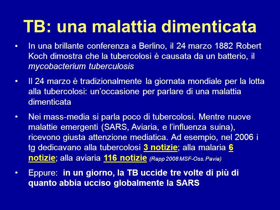 TB: una malattia dimenticata In una brillante conferenza a Berlino, il 24 marzo 1882 Robert Koch dimostra che la tubercolosi è causata da un batterio,