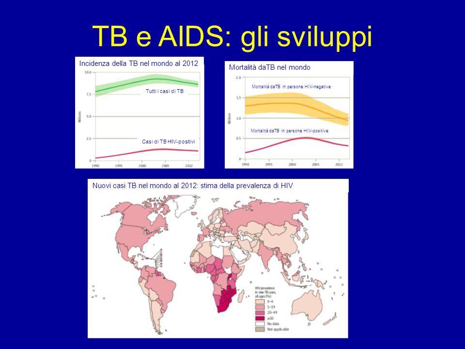 TB e AIDS: gli sviluppi Tutti i casi di TB Casi di TB HIV-positivi Incidenza della TB nel mondo al 2012Mortalità daTB nel mondo Mortalità daTB in pers