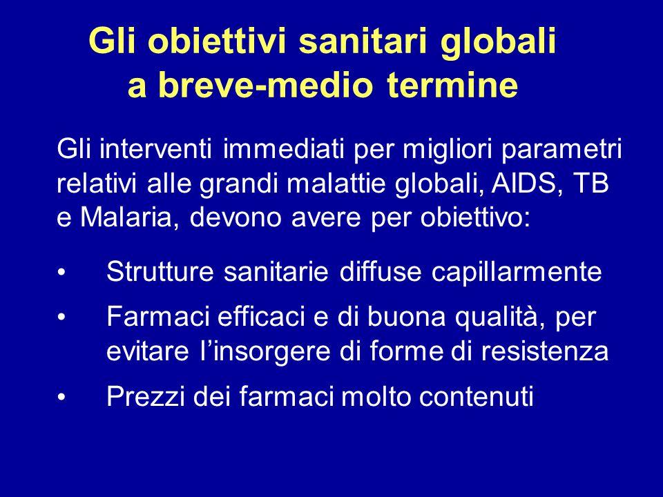 Gli obiettivi sanitari globali a breve-medio termine Gli interventi immediati per migliori parametri relativi alle grandi malattie globali, AIDS, TB e