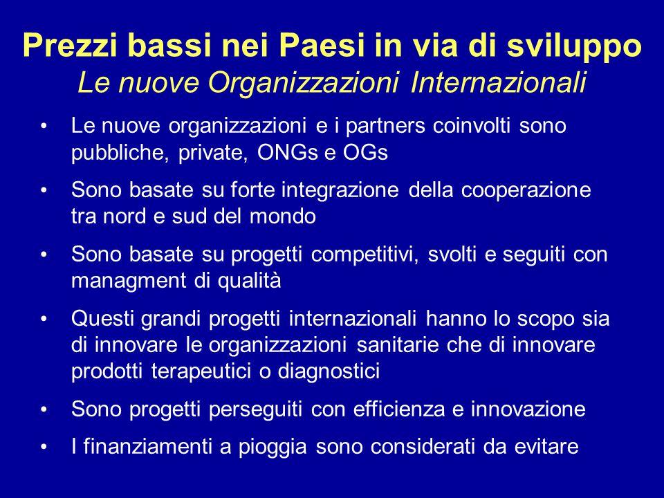 Prezzi bassi nei Paesi in via di sviluppo Le nuove Organizzazioni Internazionali Le nuove organizzazioni e i partners coinvolti sono pubbliche, privat