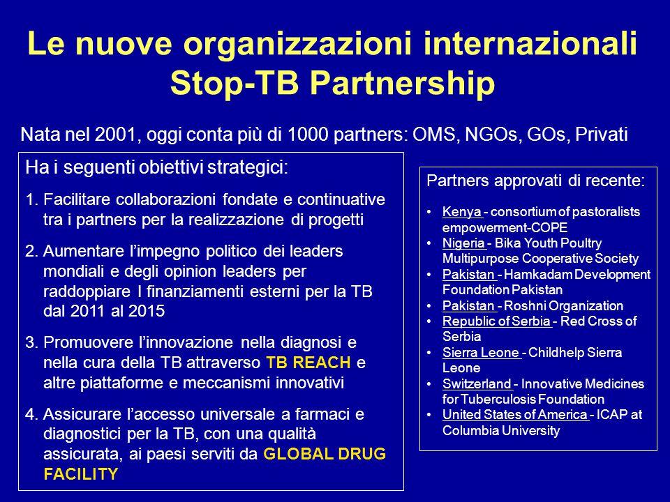 Le nuove organizzazioni internazionali Stop-TB Partnership Nata nel 2001, oggi conta più di 1000 partners: OMS, NGOs, GOs, Privati Ha i seguenti obiet