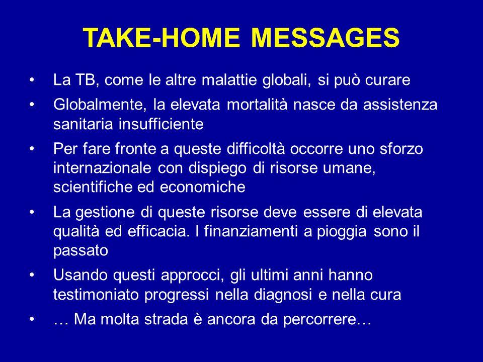 TAKE-HOME MESSAGES La TB, come le altre malattie globali, si può curare Globalmente, la elevata mortalità nasce da assistenza sanitaria insufficiente